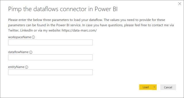 Pimp the dataflows connector in Power BI_parameter pop-up